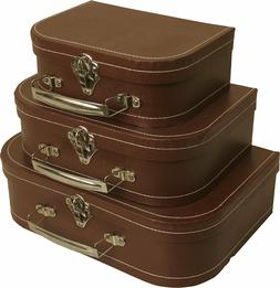 Wald Imports Brown Suitcases, Set of 3