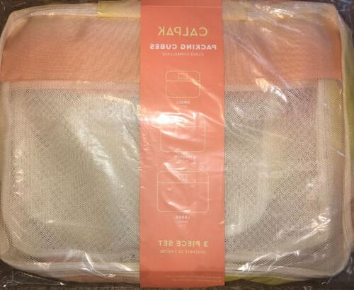 set of 3 packing cubes in sorbet