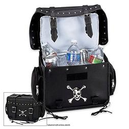 Diamond Plate Motorcycle Trunk/Cooler Bag with Skull Medalli